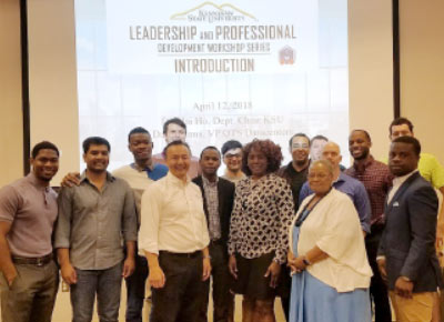 students and speakers at Leadership and Professional Development workshop