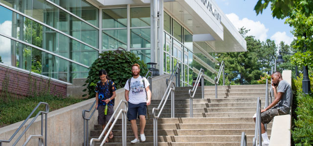 Students walking outside the Engineering Technology Center