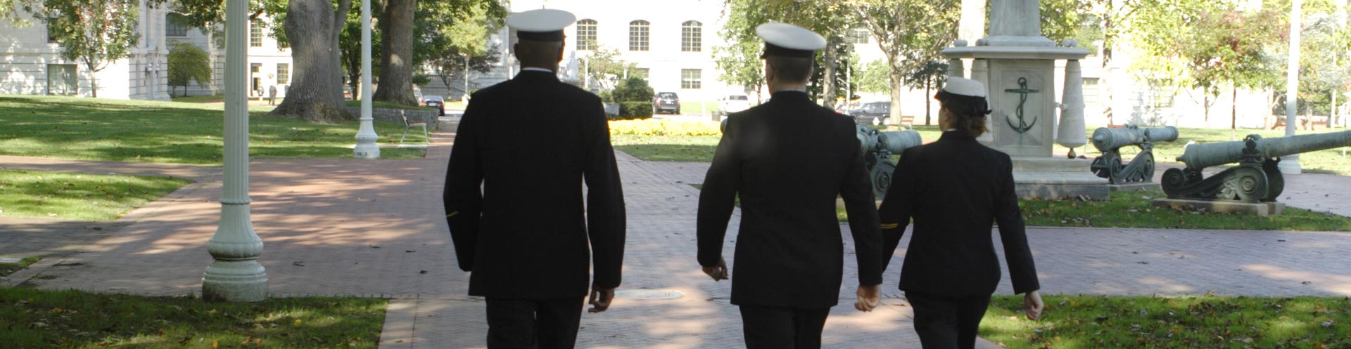 NROTC students walking on campus.